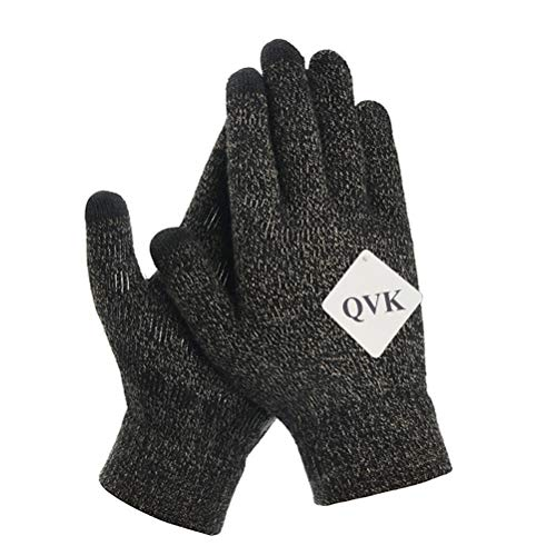 QVK Anti-Slip Warm Soft Lining Elastic Cuff Touchscreen Winter Knitted Gloves for Men