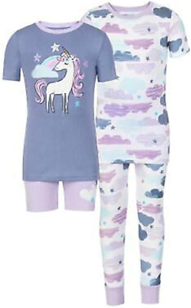 Kirkland Signature Kids Girls 4 Piece Short Sleeve Shirt Short Pajama Set