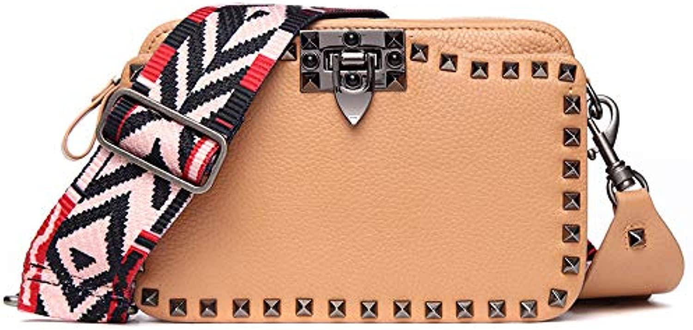 AI BAO Women's Spring Summer Leather Shoulder Bag Dating Shopping Bag Trendy Rivet Crossbody Bag
