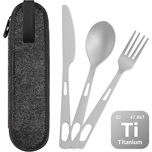 ecooe Titan Outdoor Reisebesteck 3 Stücke Messer/Gabel/Löffel, Campingbesteck mit Filztasche, Ultra-leicht Besteckset für Outdoor Leicht zu Tragen