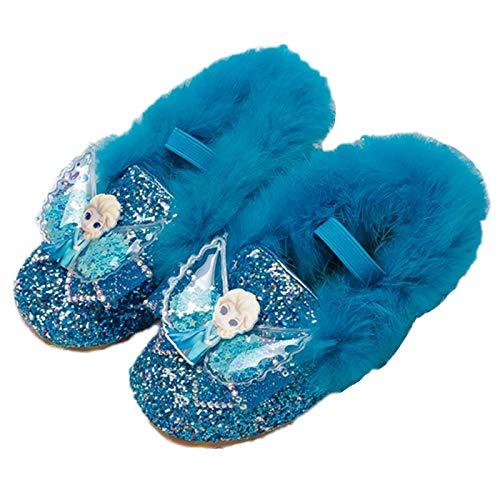 Kosplay Disfraz Princesa Zapatos Elsa Niñas Zapatos de Tacón Velcro Zapatos de Niños Baile para Vestir Fiesta Cumpleaños Boda Infantil 3-14 Años