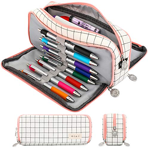 Nicpro Large Pencil Case with Zipper,Cute Grid School Supplies Pencil Pouch for Teen Girls and Boy School Student