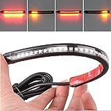 Striscia flessibile a 32LED 3528per codino della moto, con luce integrata per freno, indicatori di direzione, luce per targa, colore rosso/ambra