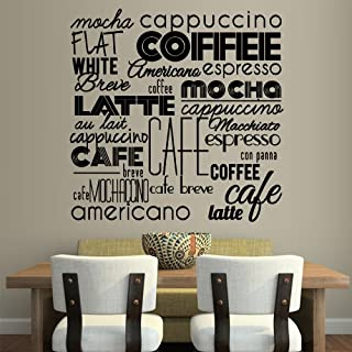 Wall Vinyl Sticker Decals Decor Art Kitchen Design Mural Pattern Coffee Sign Quote Lettring Wording Words Latte Cup Hot (Z3081)