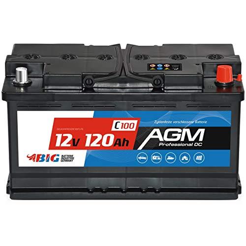 BIG AGM Versorgungsbatterie Solarbatterie Mover Caravan Bootsbatterie (120Ah AGM)