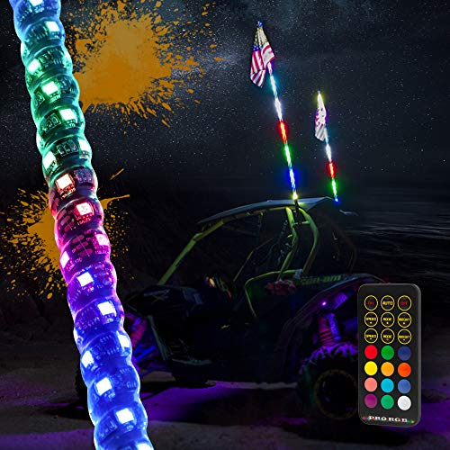 MAXHAWK 5ft LED Whip Light 360° Spiral Chasing/Dancing Lighted Antenna RGB LED Whips with Flag RF Remote Control for UTV ATV Off Road Truck Sand Buggy Dune Quad 4X4 Boat