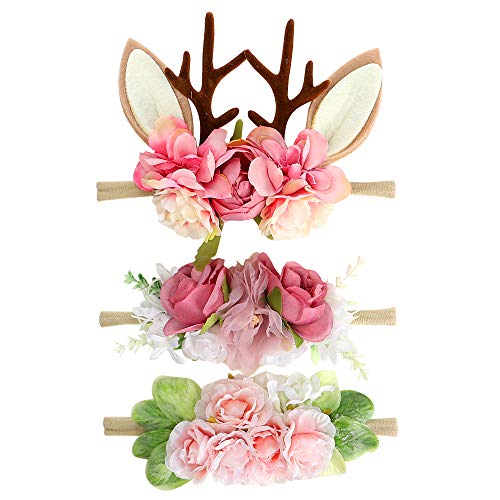 Floral Baby Girls Headband- BEAMIO Antlers Nylon Pink Hairbands Pack of 3