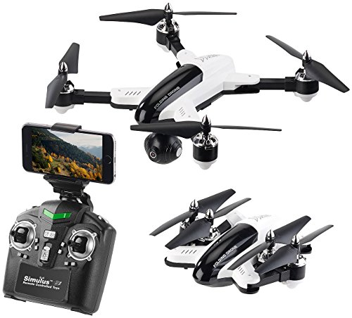 Simulus Drone: Faltbarer WiFi-FPV-Quadrocopter mit HD-Cam, 2,4-GHz-Fernsteuerung, App (Kamera Drohne)
