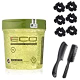 Eco Style Styling Gel, Olive Oil Gel 24 Ounce (Including Handle Nylon Bristle Hair Brush, Round Handle Detangle Hair Comb, 6 Piece Hair Tie Scrunchies) Eco Styler Olive Oil Gel Styling Gel with Olive Oil Hair Styling Kit