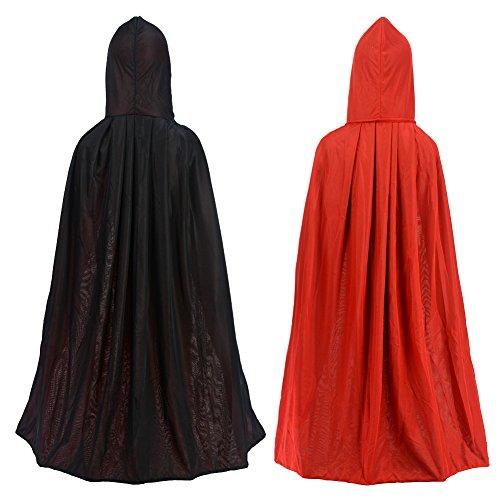 "Double Face 35"" Red Black Hooded Cloak Goth Vampire Priate Cape"
