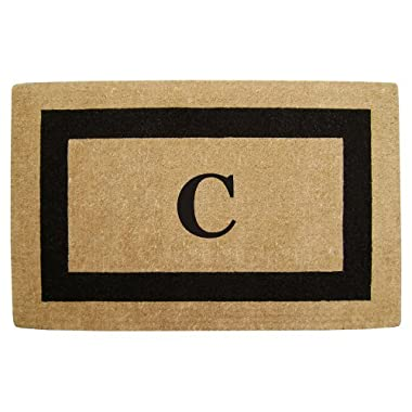 Nedia Home Single Picture Black Frame Heavy Duty Coir Doormat, 22 by 36-Inch, Monogrammed C
