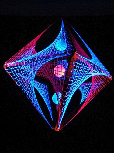 PSYWORK Schwarzlicht 3D StringArt Oktaeder Pink Shadow, 60cm