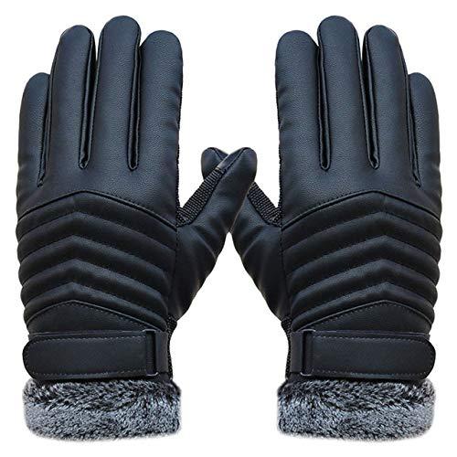IMmps Touchscreen-Handschuhe 2019 Männer Winddichte Handschuhe Leder Winterhandschuhe rutschfeste warme Handschuhe-T3322Black-One Size