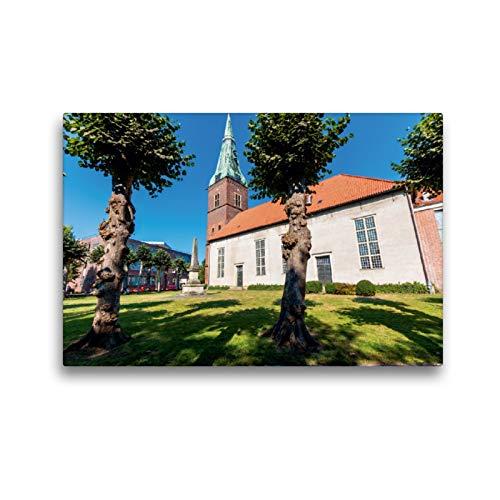 CALVENDO Premium Textil-Leinwand 45 x 30 cm Quer-Format Die Stadtkirche in der Innenstadt von Delmenhorst, Leinwanddruck von Siegfried Pietzonka