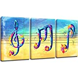 LoveHouse 3 Panel Blue and Yellow College Music Notes Canvas Wall Art Rhythm Song Modern Giclee Painting Classroom Living Room Bedroom Decoration Watercolor Ready to Hang 16x24inchx3pcs