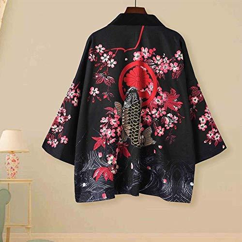 Traditional Japanese Kimonos Cardigan Men Women Sunscreen Thin Loose Summer Japanese Kimono Yukata Asian Clothes New SYXMSM (Color : 2, Size : L)