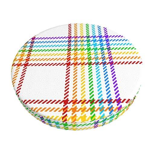 AEMAPE - Fodera rotonda per sgabello da bar, motivo tartan, rotonda, per sgabello gay, 40,5 cm
