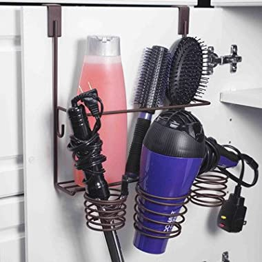 Home Basics Over the Cabinet Hairdryer Holder & Organizer in Bronze