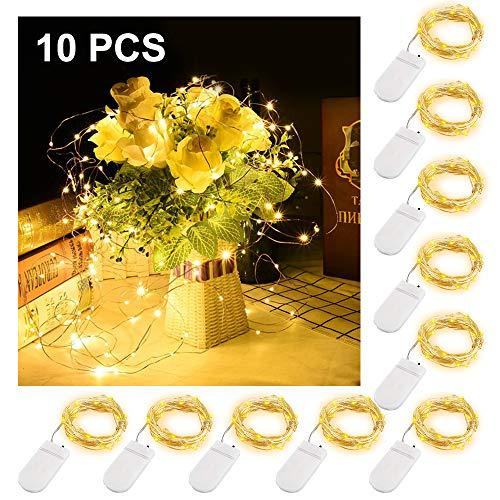 Vegena 10er Stück LED Lichterkette, 3m 30er Lichter,Batteriebetriebene Micro Kupferdraht Sterne Lichterketten Warmweiß | IP65 Wasserfest | Geeignet für Hochzeit, Weihnachten, Party Deko etc.