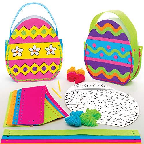 Baker Ross Osterei Handtaschen Nähset für Kinder zum Ausmalen (4 Stück) Kreativsets zum Basteln und Dekorieren zur Frühlingszeit