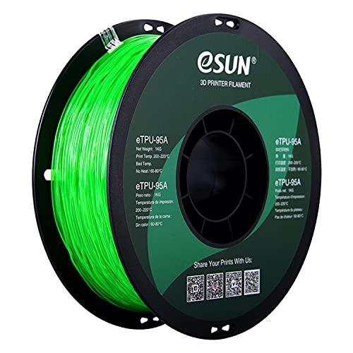 eSUN Filamento TPU Flessibile 1.75mm, Stampante 3D Filamento TPU 95A, Precisione Dimensionale +/- 0.05mm, Bobina da 1KG (2.2 LBS) Materiali di Stampa 3D per Stampante 3D, Verde Trasparente