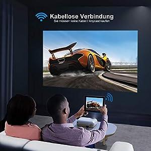 WiFi Beamer, YABER V2 Mini Beamer 5500 Lumen Unterstützt 1080P Full HD, HiFi-Sound, Projektor Kompatibel mit HDMI, SD, AV, VGA, USB, Mini projektor für Film Unterhaltung Spiele