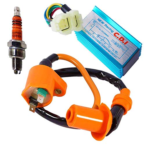 High Performance Racing Ignition Coil + with 6 Pins CDI and 3 Electrode Spark Plug for Chinese 50cc 125cc 150cc Gy6 Moped Scooter ATV Go Kart
