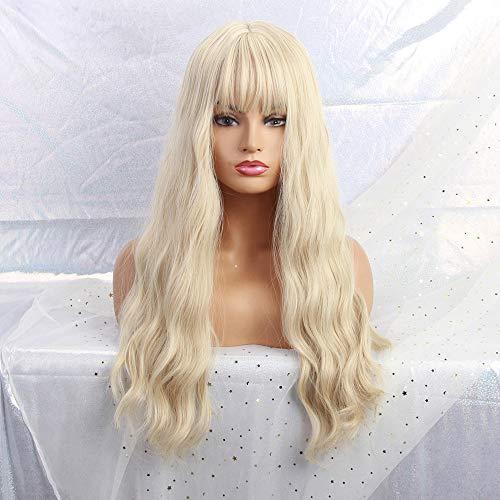MISHAIR Damen Perücken Kunsthaar mit Pony Frauen Perücke Lange gewellte Mode Mädchen Wigs blonde Täglich Cosplay Anime Damenperücke 26 Zoll