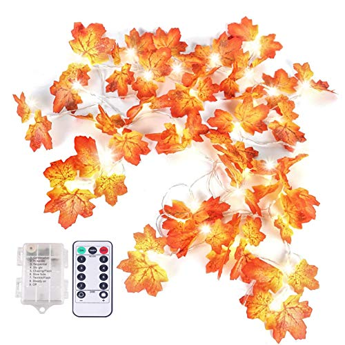 Thanksgiving Decorations Lights Fall Maple Leaves Garland String Lights with Remote Control Timer-13.8ft 40 LED Maple Leaves Waterproof for Thanksgiving Autumn Halloween Christmas Party Indoor Outdoor