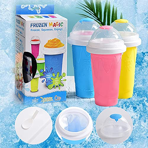 Slushie Maker Cup Squeeze, Slushie Maker for Kids Cup, Squeeze Cup Slushy Maker, TIK TOK Magic Quick Frozen Smoothies Cup Double Layer Cupfor Kids and Family-Blue