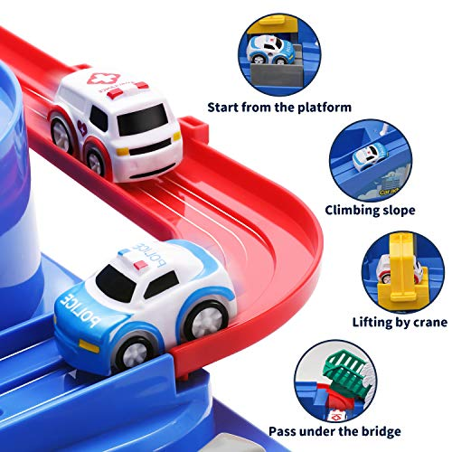 TEMI Race Car Track Toy Educational Toddler Race Tracks Car Adventure Puzzle Playsets Toys for Boys Girl Gift with 4 Mini Cars for Kids Toys Age 3+