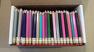 Half Pencils with Eraser - Golf, Classroom, Pew, Short, Mini - Hexagon, Sharpened, Non Toxic, Non-Smudge, 2 Pencil, Wood Cased, Color -Assorted Mix of Colors, (Box of 48) Golf Pocket Pencils