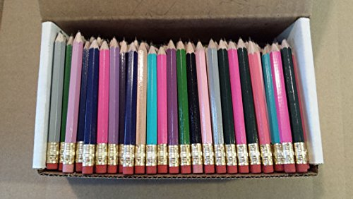 Half Pencils with Eraser - Golf, Classroom, Pew, Short, Mini - Hexagon, Sharpened, Non Toxic, Non-Smudge, 2 Pencil, Wood Cased, Color -Assorted Mix of Colors, (Box of 48) Golf Pocket Pencils