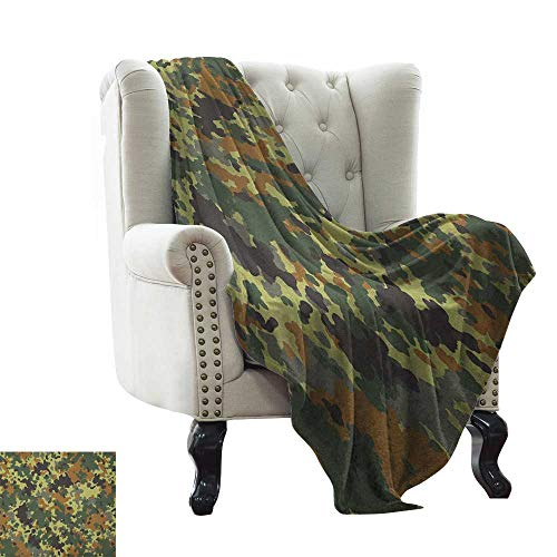Plush Throw Blanket Camo,Classical Germany Camouflage Pattern Forest Jungle Military Colors, Dark Green Pale Green Brown All Season Light Weight Living Room/Bedroom 35'x60'