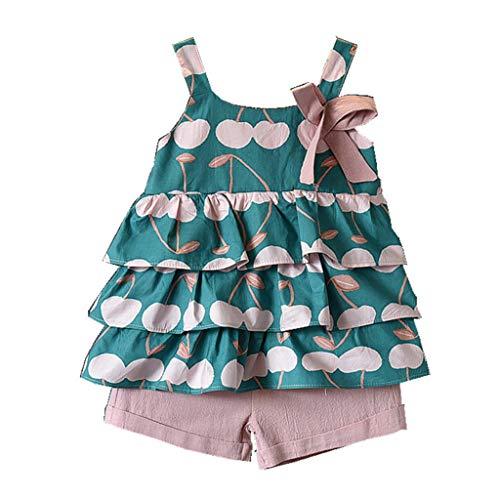 TWIFER Été - sans Manches - Mode - col Rond Été Vêtements bébé Fille bébé Enfants Sangles Chemise Florale et Pantalon Court Rose Robe d'été(1-6 Ans)