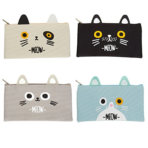 Cat Pencil Case Cute Pencil Bag School Supplies, Travel Cosmetic Makeup Bag for Women (4 Pack)