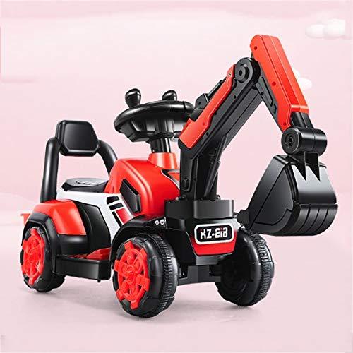 Kedorle Modo de Carga Digger Tractor Child Eléctrico Kride-On Excavator Music Tractor Tractor Truck Digger Scooter Boys Girls Cumpleaños Juguete (Color : Rojo)