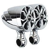 "Motorcycle Speakers Bluetooth Waterproof (Radio) System 4"" Audio FM USB Scooter Bike ATV UTV Silver"