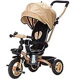 Triciclo para Niños 4 En 1, Triciclo Plegable para Bebés con Asiento Giratorio Y Respaldo Reclinable, Tela Oxford, Apto para Niños De 6 Meses A 5 Años,Oro