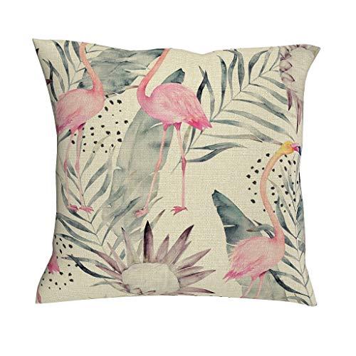 Gamoii Fundas de almohada de lino, diseño de flamencos, color rosa, pájaro, hoja de palmera, moderna, funda de almohada, funda de cojín lumbar, fundas con cremallera para dormitorio, lino, blanco, 45 x 45 cm