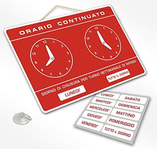 Cartello ORARIO Continuato regolabile apertura negozio studio laboratorio bar (ROSSO)