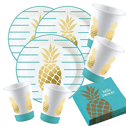 52-teiliges Party-Set Pineapple Vibes - Ananas - Teller Becher Servietten für 16 Personen