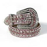DDSP Correa para Hombres Mujeres Rhinestones Belt Western Cowgirl Cowboy Bling Crystal Pin Hebilla Diamante Tachuelas Cinturones (Belt Length : 46 Inch, Color : Pink)