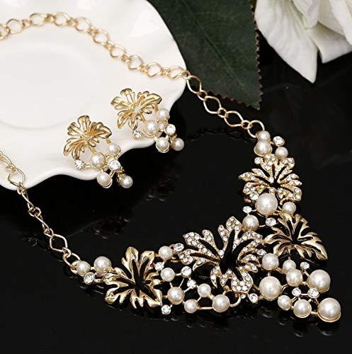 Set Di Gioielli Da Donna Gioielli Di Perle Imitazione Fiore Gioielli Da Sposa Collana Collana Orecchini Set Oro