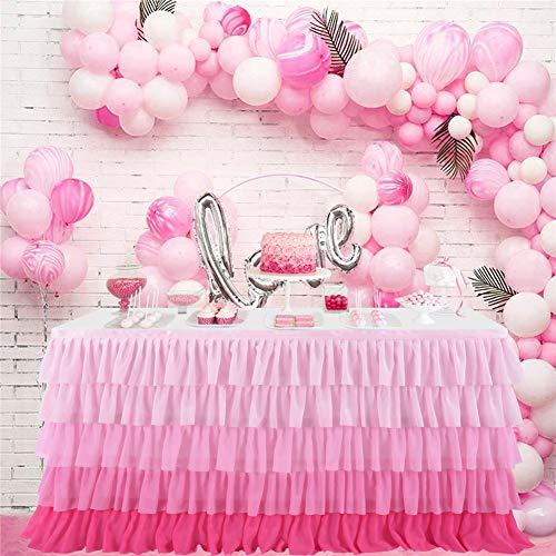 ACHICOO Tischrock aus Chiffon, 5 Schichten, mit Farbverlauf, für Hochzeit, Party, Verlauf, Rosa, 1,8 m