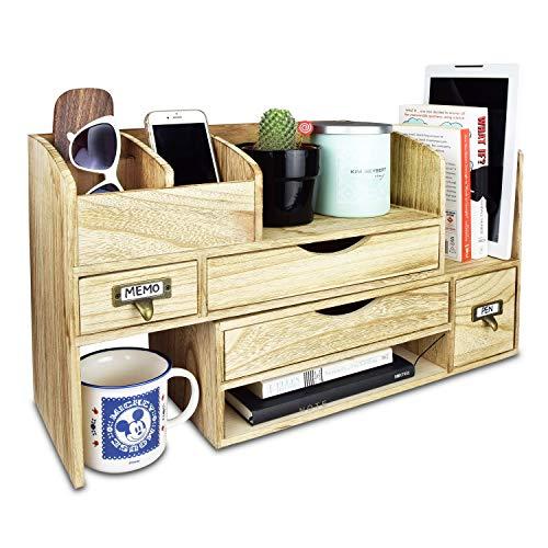 Ikee Design Large Adjustable Wooden Desktop Organizer
