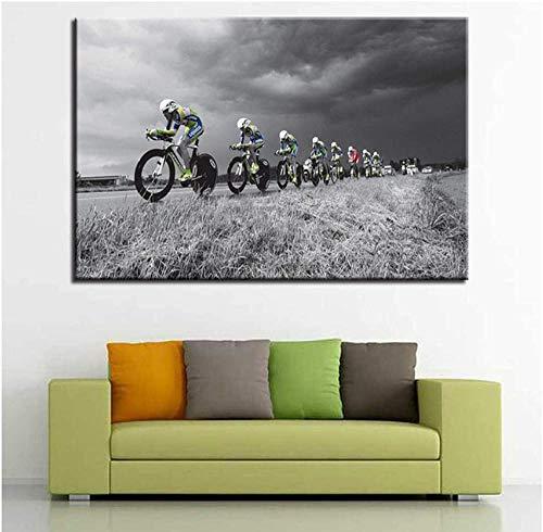 NC87 Carteles de Bicicletas de Campo traviesa imágenes de Bicicletas de montaña Deportes decoración del hogar Pintura Impresa en lienzo-60X80Cm sin Marco