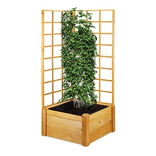 Relaxdays Pflanzkasten mit Spalierwand, rechteckiger Blumenkasten mit hoher Rankhilfe, HxBxT: 151 x 67 x 66 cm, Natur