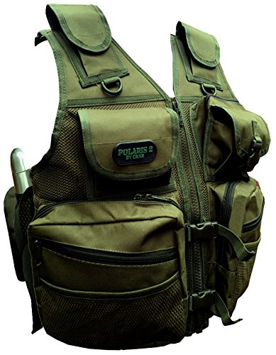 Cksn Gilet réglable avec plusieurs poches et housses Tour de taille 127-140 cm Fully Adjustable vert olive
