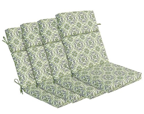 BOSSIMA Indoor Outdoor High Back Chair Cushions Replacement Patio Chair Seat Cushions Set of 4 Green Damask